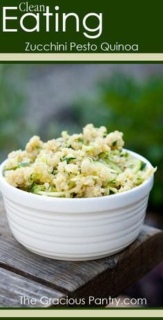 Clean Eating Pesto Zucchini Quinoa. #CleanEatingRecipes #CleanEating #EatClean