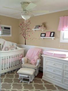 Spotted our Cherry Blossom Tree wall decal in this sweet & simple nursery.