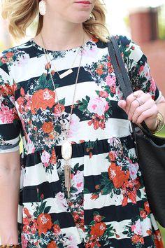 Floral Smock Dress, Floral + Stripes, Summer Outfit Idea