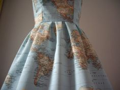 cotton summer, summer dresses, fashion, dress making, etsy dress, print strapless, strapless cotton, world maps, map print