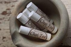 Chai Tea Lip Blam. Handmade with Beeswax, Rosehip, Sweet Almond and Camelina Oils.  Shea Butter Lip Balm.
