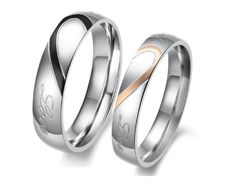 "Lover's Heart Shape Titanium Stainless Steel Promise Ring with Engraved Heart and ""Real Love"""