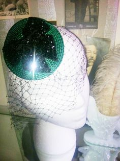 1920s Green with Black Bow Holiday Fascinator-Holiday Party-Retro Chic French-Pin Up Burlesque-Sequined Bows