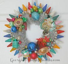 Vintage Christmas Light Bulb Wreath