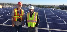 Here I am taking in the largest solar PV system in western Canada on top of the future Environment Canada building in Edmonton with Shafraaz Kaba, architect with Manasc Isaac. The 150 kW solar array consists of about 600 modules that will produce electricity at an estimated price of about 11 cents per kWh! Astonishing if this works out! — with Shafraaz Kaba