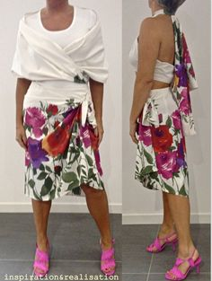 inspiration and realisation: DIY Fashion - wrapped skirt with asymmetric hem and scarf - the scarf can be tied as a top inspiration, skirts, diy fashion, diy cloth, fashion blogs, sew skirt, skirt diy, scarves, diy sew