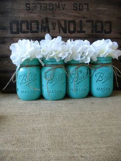 Super cute painted mason jars.