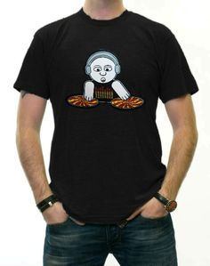 DJ E-Qualizer Sound Responsive EQ T-Shirt. Whether you are playing hip hop house or rock DJ TQ will react to the sound by spinning his turn tables when the music gets going his very own EQ shirt will start to react... That's right! DJ E-Qualizer has an EQ Shirt of his own! Price $24.99
