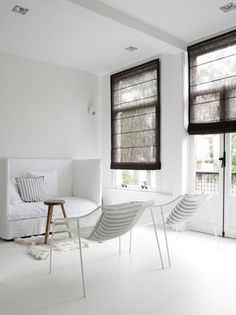 Chairs, cushions, white, window coverings(!)