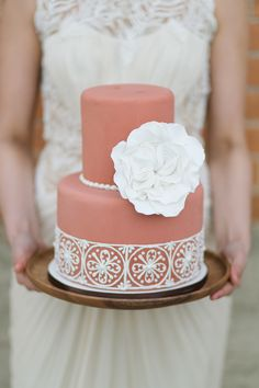 Wedding Cake by SugarBeeSweets.com -- Photography: CharlaStorey.com -- See more wedding inspiration on #SMP: http://www.StyleMePretty.com/2014/05/05/spanish-style-wedding-inspiration
