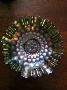 Fenton Coin Dot Carnival Glass Bowl