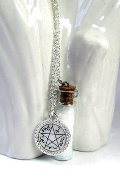 Supernatural inspired devil's trap and salt vial necklace.