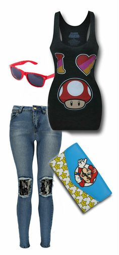 Nintendo Women's Outfit by Mary Huth Wallet: http://www.superherostuff.com/nintendo/wallets/mario-stars-womens-envelope-wallet.html?itemcd=wltmariostarsenvutm_source=pinterestutm_medium=linkutm_campaign=featuredoutfit Jeans: http://www.boohoo.com/usa/clothing/jeansdenim/icat/jeansdenim/new-in/deanna-open-knee-lace-insert-skinny-jeans/invt/azz33474 Sunglasses: http://www.storenvy.com/products/76243-new-2011-retro-sunglasses-red