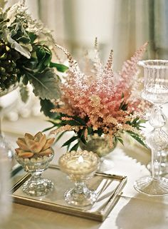 Flowers and candles in crystal