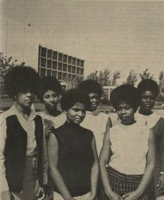 "Photograph from the Daily Sundial, campus newspaper of the San Fernando Valley State College (now CSUN), of the contestants in the 1969 ""Miss Black and Beautiful Competition"" part of the festivities for Malcolm X week. ""Pictured are (left to right) front row Louise Mayhand, Treva Pruitt, back row, Yvovene Brooks, Marita Peete, Lynda Nichols and Barbara Holmes."" CSUN University Digital Archives."