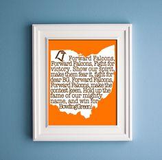 Bowling Green - Forward Falcon Print. $12.00, via Etsy.