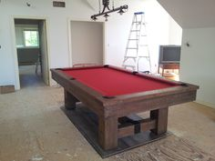 The start of a great loft in a cottage with a Brunswick Merrimack pool table