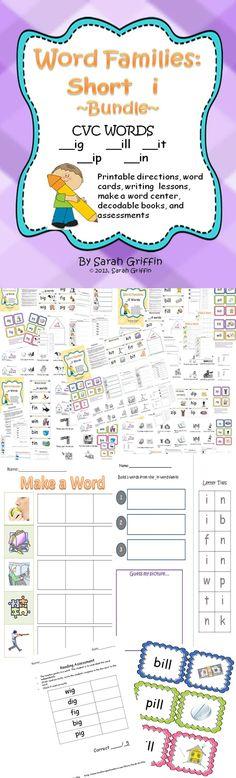 CVC words Short i Bundle Packet classroom idea, teach ideasteach, kindergarten classroom, word families, word work, kindergarten literaci, kindergarten central, ideasteach resourc