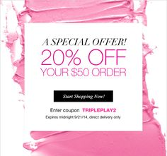Shop Avon makeup sales in campaign 20 online! 20% off your $50 online order through midnight 9/21/14 - use code: TRIPLEPLAY2 http://www.makeupmarketingonline.com/avon-makeup-sales-campaign-20-2014/ #avon #avoncatalog #avoncampaign20 #makeup #sale
