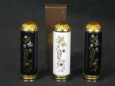 Vintage lipstick holder/tube Set of 3 Enameled over brass with small jewels