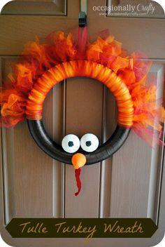 Occasionally Crafty- Tulle Turkey Wreath tutorial
