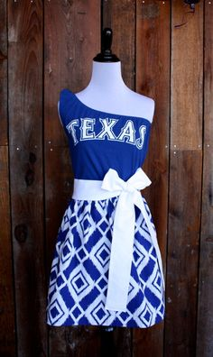 Texas Rangers Baseball One Shoulder Flutter Sleeve Dress on Etsy by jillbenimble
