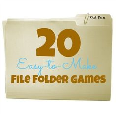 20 Easy-to-Make File Folder Games perfect for early learning skills! how to make file folder games, earli learn, easytomak file, early learning, classroom folders, file folder ideas, 20 easytomak, file folder activities, file folders