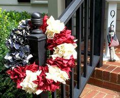 Americana Wreath from fabric scraps