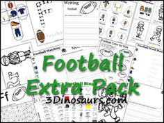 Free Updated Football Pack is made to be used with kids 2 to 8. Football Pack Extra is 49 pages. Tot Extra is 16 pages.
