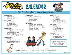 Super example of an AWANA Calendar! Fun and easy to read.