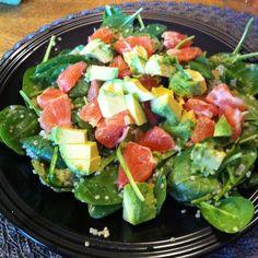 Spinach, quinoa, avocado and grapefruit salad.....Tried it....soooo ...