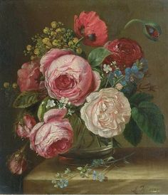 Adriana Joanna Haanen  Roses in a Glass Vase on a Ledge  1849
