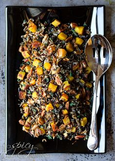 Black Rice Recipe with Roasted Acorn Squash and Pecans | ASpicyPerspecive.com #Halloween #Recipes #Fall #Thanksgiving
