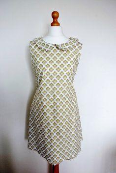 shift dress pattern, williamsburg fabric maybe?
