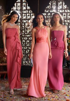 Mix and match pink hues for a unique bridal party look. #davidsbridal #pinkweddings #bridesmaids