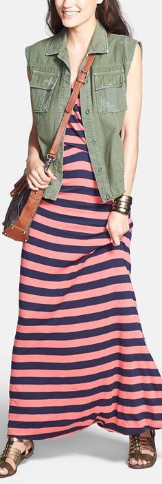 utility vest + maxi dress