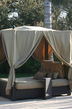 Queen Canopy Woven Espresso Wicker Outdoor bed with Sunbrella Cushions $3779.00
