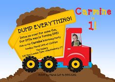 Dump Truck 1st Birthday    Carmine's dump truck party invite!    From Beene sprout on etsy!