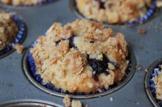 Crumble Topped Blueberry Oat Muffins