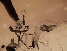 Death scene, 5th August 1962. The body of Marilyn Monroe, before it was moved from her Brentwood home, to the LA County Morgue. There were several police photos taken at the death scene, but this is the only existing one. Somebody retrieved it from the LAPD files.