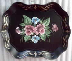 Vintage Serving Tray Large Hand Painted Tole by FingerLakesFinds, $36.00