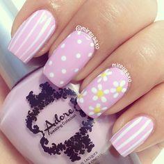 Instagram photo by mireyaaxo #nail #nails #nailart ador nail, nail polish, nail designs, spring nail design, nail arts, beauti, flower nail, nails, dot