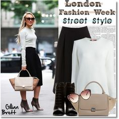 """Street Style at LFW"" by helenevlacho ❤ liked on Polyvore"