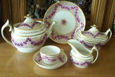 Antique Josiah Spode Tea Set in Lilac Flowers & Gilt circa 1800