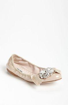 Miu Miu crystal bow ballerina flat