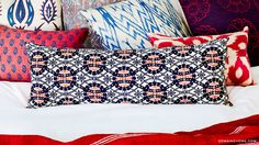 Before & After: Jessica Alba's Brilliant Bedroom Makeover// mixed patterns, pillows, ethnic textiles, kimono pillow