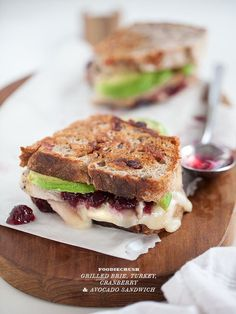 grilled brie turkey cranberry avOcado sandwich