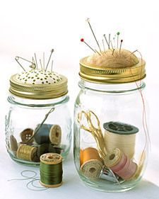 I love the pin cushion idea. I don't know what they used in this picture, but I bet if you sliced part of a styrofoam ball, covered it with fabric, and hot glued it, it would work... sewing kits, sewing box, canning jars, pincushion, gift ideas, sewing storage, sewing rooms, mason jars, sewing notions