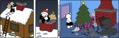Santa is making a mess. Buni on GoComics.com #Humor #Comics #Santa #Christmas
