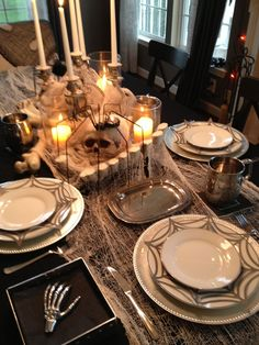 halloween tablescapes   Halloween Dinner Party Tablescape   halloween food and decor